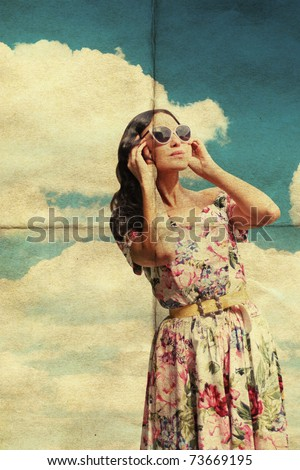 beauty young woman in sunglasses, vintage pattern, retro dress - stock photo
