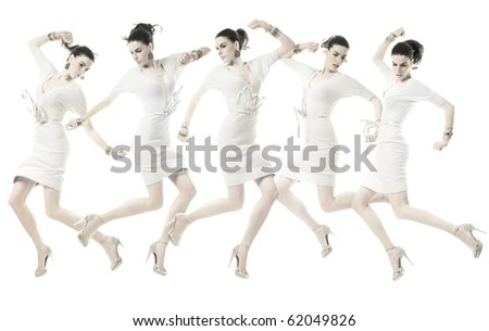 Beauty young woman in various position jumping in white dress, on white background. - stock photo