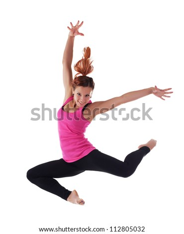 Beauty young woman jump in acrobatic costume - stock photo