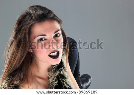 Beauty young woman screaming portrait