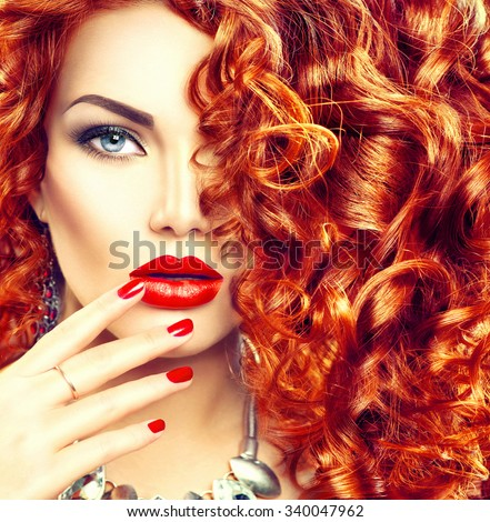 Beauty young woman with curly red hair, perfect make up and manicure. Permed hair. Glamour lady, Beauty Girl. Beautiful Woman Portrait. Blond Wavy Hair, perfect make up - stock photo
