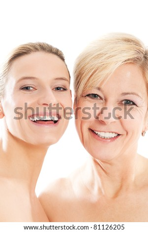 Beauty - youth and age or mother and daughter - stock photo