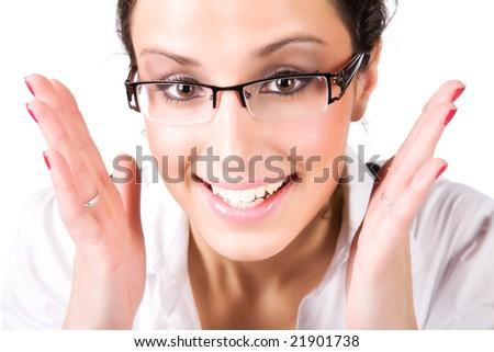 Beautyful businesswoman portrait. Isolated on white. - stock photo