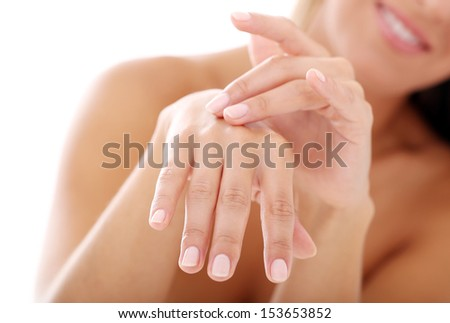 beautyful woman body and hand - stock photo