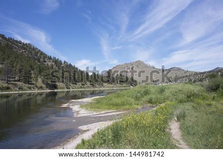 Beaver creek flows into the Missouri river near Helena, Montana. - stock photo