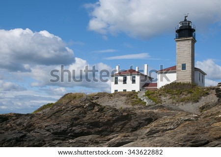 Beavertail Lighthouse is one of the oldest lighthouses in New England. - stock photo