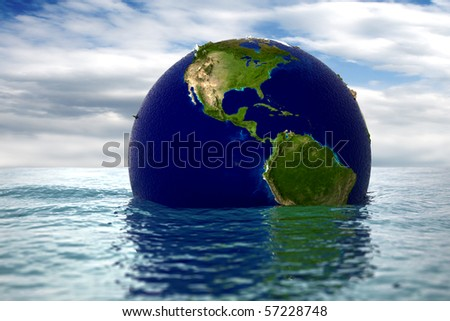 because of global warming, planet earth begins to sink - stock photo