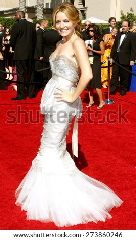 Becki Newton attends the 59th Annual Primetime Emmy Awards held at the Shrine Auditorium in Los Angeles, California, United States on September 16, 2007.  - stock photo