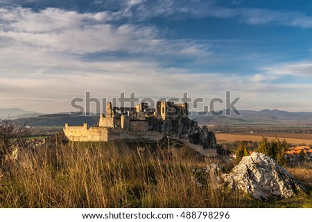 Beckov castle in the sunset light in Slovakia