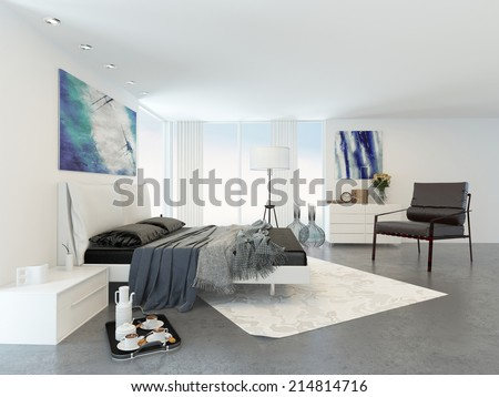 Bed and Chair in Modern Bedroom in Apartment Decorated in Minimalist Style - stock photo