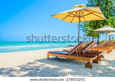 Bed beach on tropical beach - stock photo