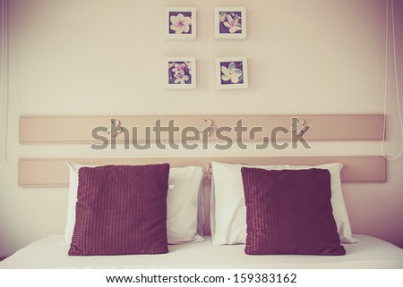 Bed in my home,Bedroom ready for guests - stock photo