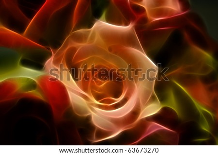 Bed of Roses A fractal filtered image of rose blooms. Horizontal. - stock photo