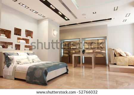Bed room interior - stock photo