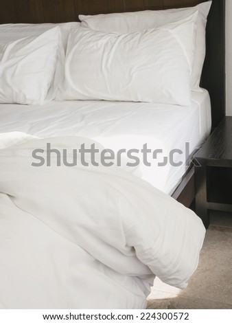 Bed sheet and pillows messed up in the morning
