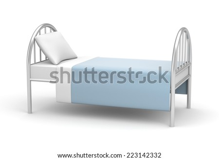 Bed. Simple bed for hotel or hospital - stock photo