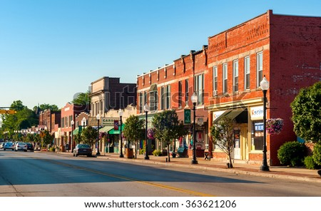 BEDFORD, OH - JULY 25, 2015: The main street of this small Cleveland suburb features many old buildings over a century old. - stock photo