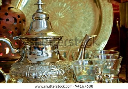 Bedouin tea party set up in an oriental  atmosphere - stock photo
