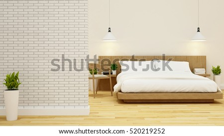 bedroom and living area in condominium or hotel -3d rendering