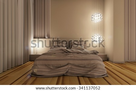 bedroom at night time 3d Rendering