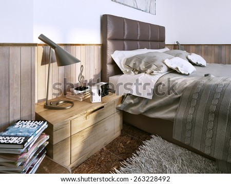 Bedroom contemporary style. 3D render