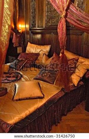 Bedroom in castle - Czocha Poland - stock photo