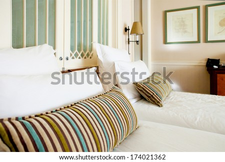bedroom in classic style and natural colors - stock photo