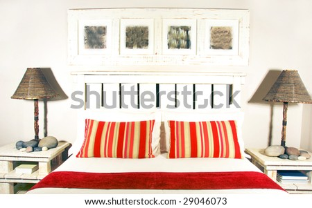 Bedroom in contrasting colors - stock photo