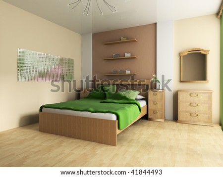 Bedroom in pastel tones 3d image