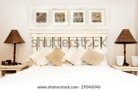 Bedroom in soft colors and light - stock photo