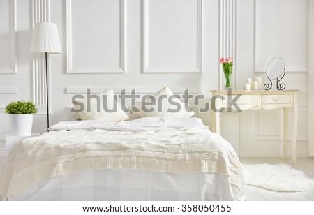 Bedroom Soft Light Colors Big Comfortable Stock Photo ...
