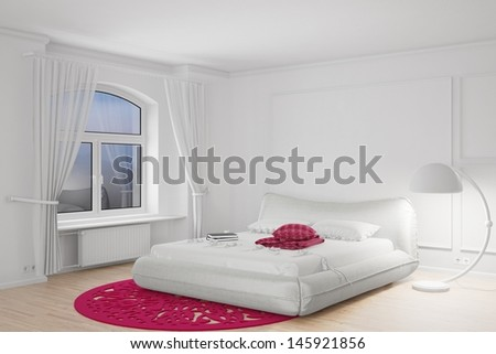 Bedroom in the dark with bright standing lamp