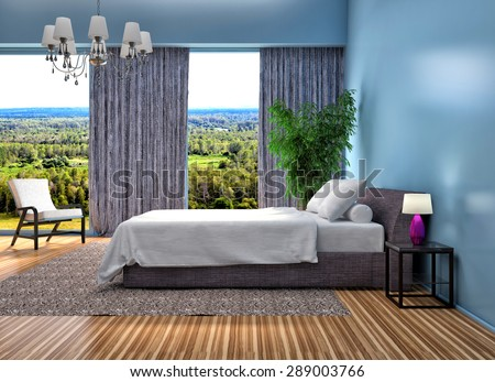 Bedroom interior. blue. 3d illustration - stock photo