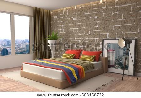 bedroom interior 3d illustration
