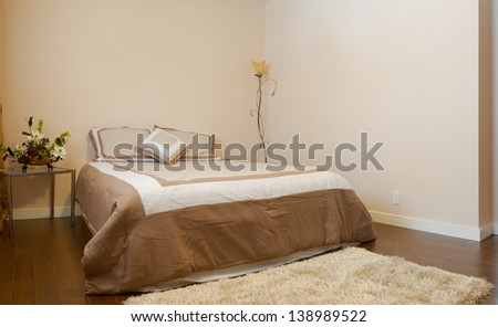 Bedroom interior design  in a new house.