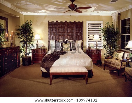 Bedroom Interior Design. Luxury Interiors of Homes  - stock photo