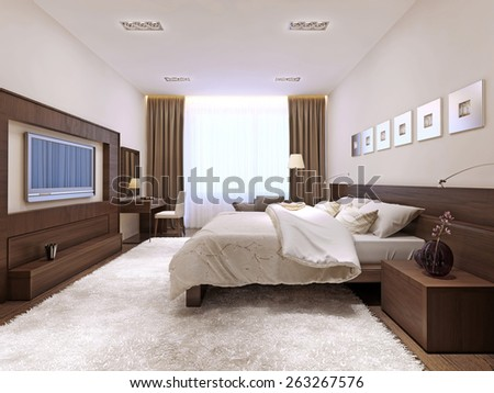 Bedroom interior in techno style, 3d render - stock photo