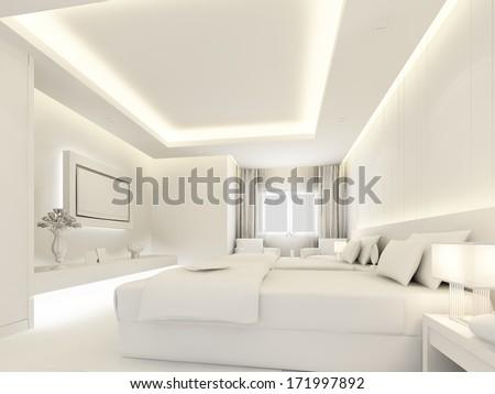 bedroom interior in white color ,3d render - stock photo