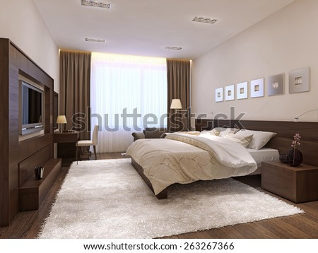 Bedroom interior minimalism style, 3d render - stock photo