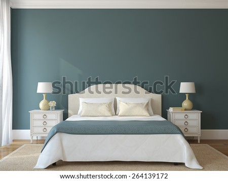 Bedroom interior. Provence. 3d render. - stock photo