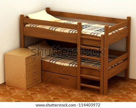 bedroom interior with Wooden two-storeyed bed 3D render - stock photo