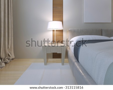 Bedroom minimalist style. Spacious room with double bed of lether, white walls with niche and white carpet on light wood parquet flooring. Light Bedside table with lamp. 3D render