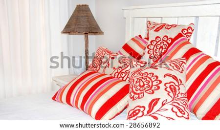 Bedroom Scene in bright colors - stock photo