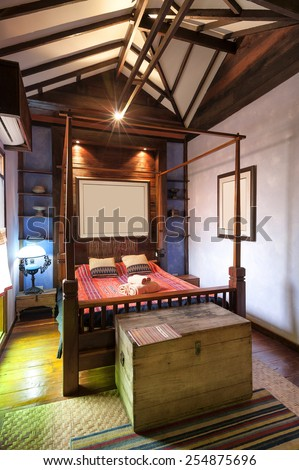 Bedroom Tropical Asian style - stock photo