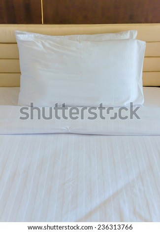 Bedroom with bed and pillow for relaxation. - stock photo