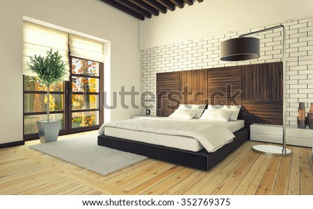 Bedroom With Brick Wall And Lamp 3d Rendering