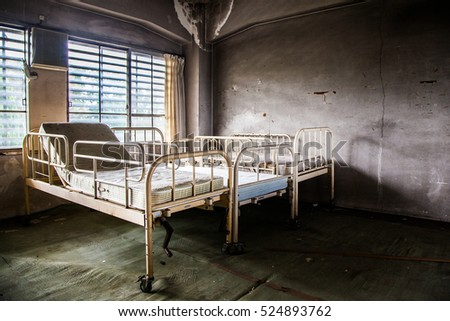 Beds in Abandoned Hospital