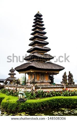 Bedugal temple , lake Braton Bali Indonesia - stock photo