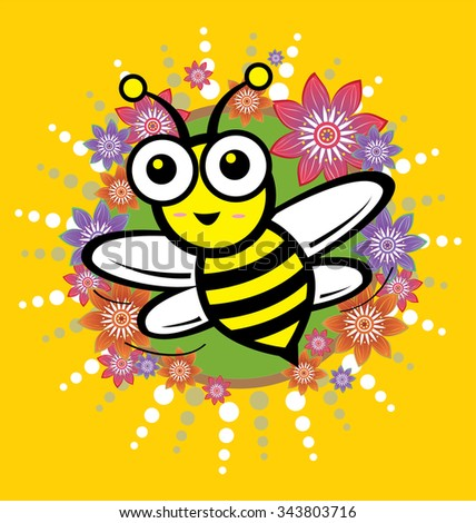Bee and flower pattern - stock photo