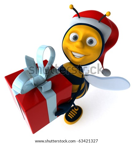 Bee and gift - stock photo